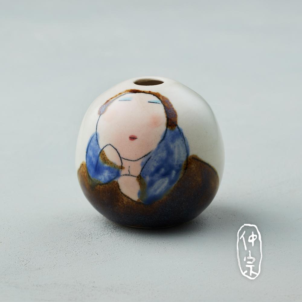 吳仲宗 胖太太系列 - 手做蛋瓶 - 淺水綠 (黛藍衣)