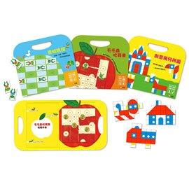 信誼 手提磁貼遊戲書組-青蛙跳棋、創意幾何拼圖、毛毛蟲吃蘋果