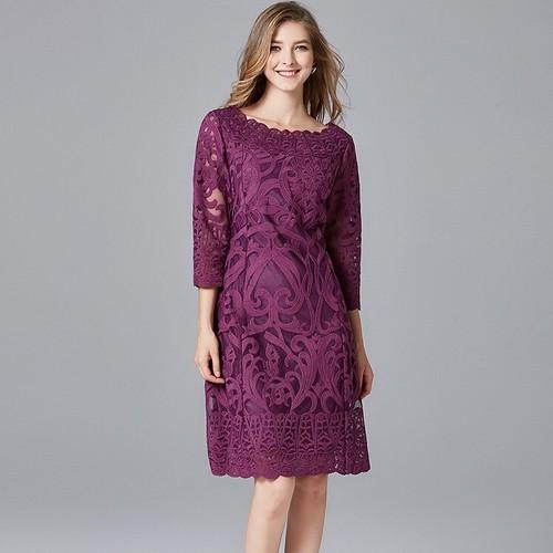 Olivia奧莉精品 歐美古典氣質蕾絲洋裝 L~5XL 蕾絲 洋裝 連身裙 禮服 伴娘服 媽媽裝