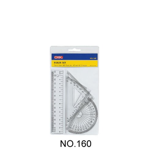 【史代新文具】三燕COX 160塑膠15cm尺組/三角尺/量角器(三角板/直尺/半圓)