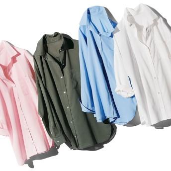ベルーナ 襟抜きオーバーサイズシャツブラウス ホワイト L レディースシャツ ブラウス 女性 春 夏 トップス レディースファッション アパレル 通販 大きいサイズ コーデ 安い おしゃれ お洒落 30代 40代 50代 女性
