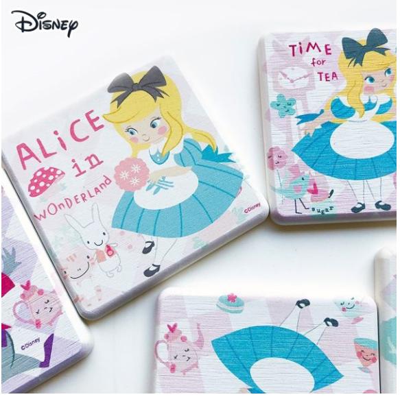 買一送一迪士尼 愛麗絲 夢遊仙境 珪藻土吸水杯墊