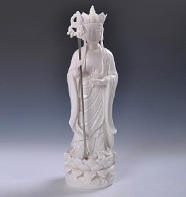 德化陶瓷18寸地藏王菩薩佛像白瓷工藝品家居佛堂供奉鎮宅風水擺件