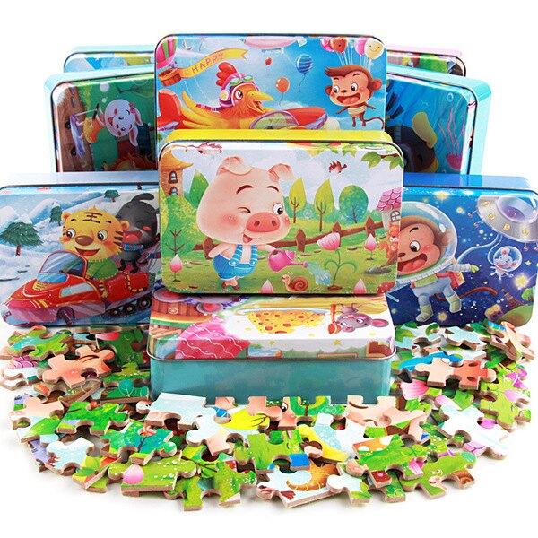 60片木質鐵盒 / 拼圖兒童卡通平面拼圖拼版