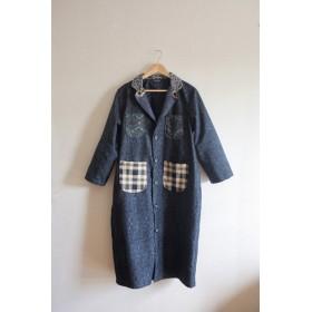 Men's 将棋xチェック柄x濃い青キモノの秋のLong Coat (no.235)