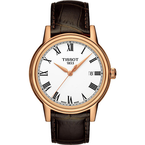 TISSOT天梭 T-Classic Carson 羅馬石英腕錶-白x玫瑰金框/40mm T0854103601300