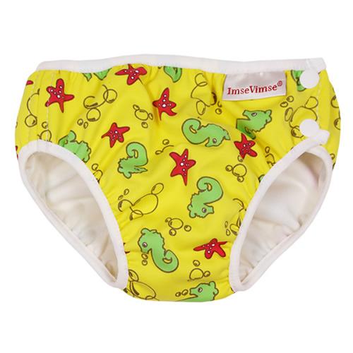 瑞典ImseVimse-超彈性防漏游泳尿褲(黃色海洋/S 6-8kg)