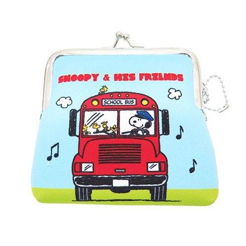 巴士款【日本進口正版】史努比 Snoopy  防震棉 中型 珠扣包 零錢包 卡片包 收納包 PEANUTS - 292469