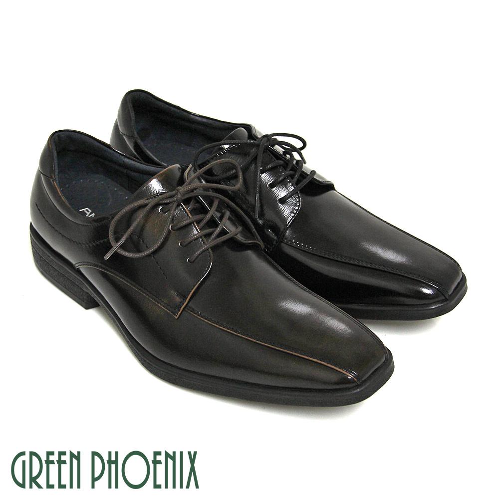 【GREEN PHOENIX】亮面俐落線條綁帶全真皮商務/紳士皮鞋(男鞋)T9-19370