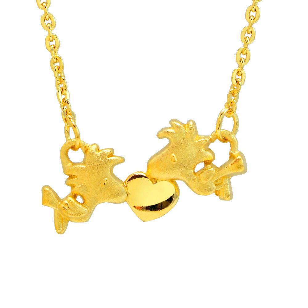 史努比SNOOPY-歡樂胡士托-黃金項鍊(鎖骨鍊)