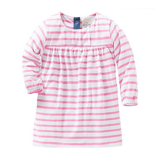 歐美風格女童純棉長袖長版T恤連身裙-粉條紋(W056)