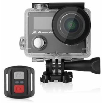 Powerextra アクション カメラ 4k wifi アクションカム 30M防水 1200MP ウェアラブルカメラ HD動画対応 リモコン付 170°広角レンズ カ