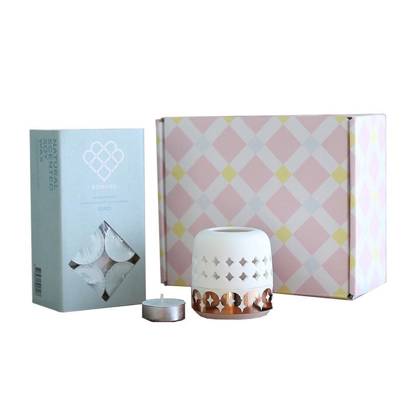 Home Fragrance Set 倒映骨瓷燭台 + 香氛蠟燭 禮盒組 薰衣草薄荷