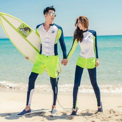 美琪 新款韓國국潛水服 情侶套裝衝浪浮潛防曬游泳衣長袖