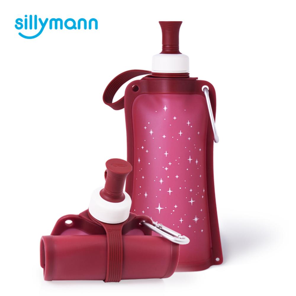【韓國sillymann】 100%時尚便攜捲式鉑金矽膠水瓶-550ml-星空紅