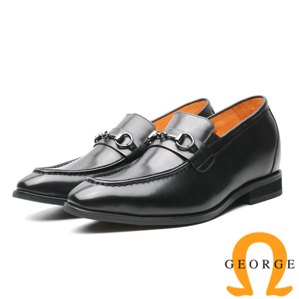 GEORGE 喬治-內增高系列 金屬扣環直套式皮鞋-黑815007YS-10
