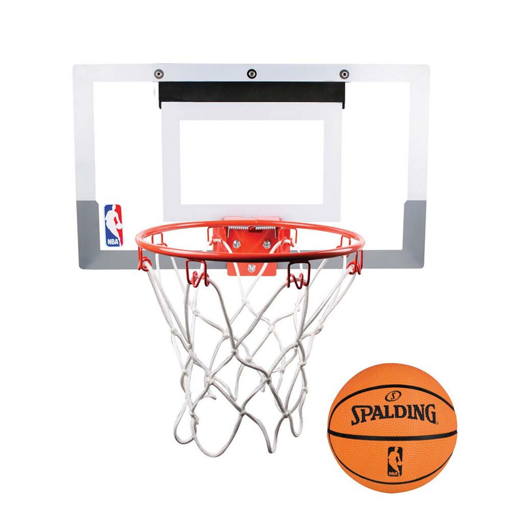 SPALDING NBA 室內小籃板-附小籃球13CM 訓練 休閒 斯伯丁 白橘 F