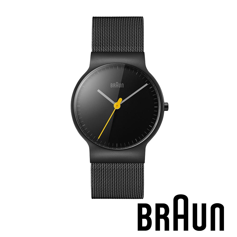 BRAUN德國百靈 經典簡約設計網織不鏽鋼錶 黑錶盤 (黑色/32mm/BN0211BKMHL)
