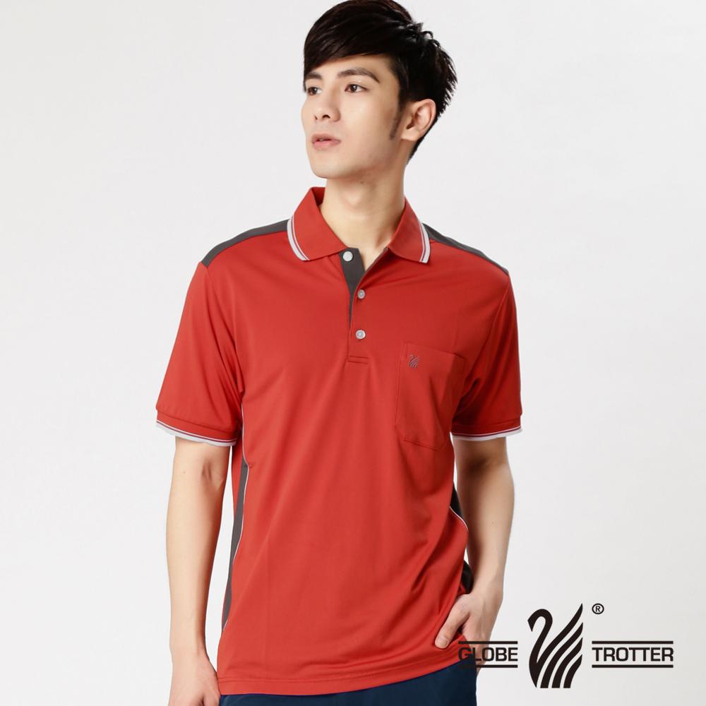 【遊遍天下】MIT台灣製男款抗UV吸濕排汗機能POLO衫SV055桔紅