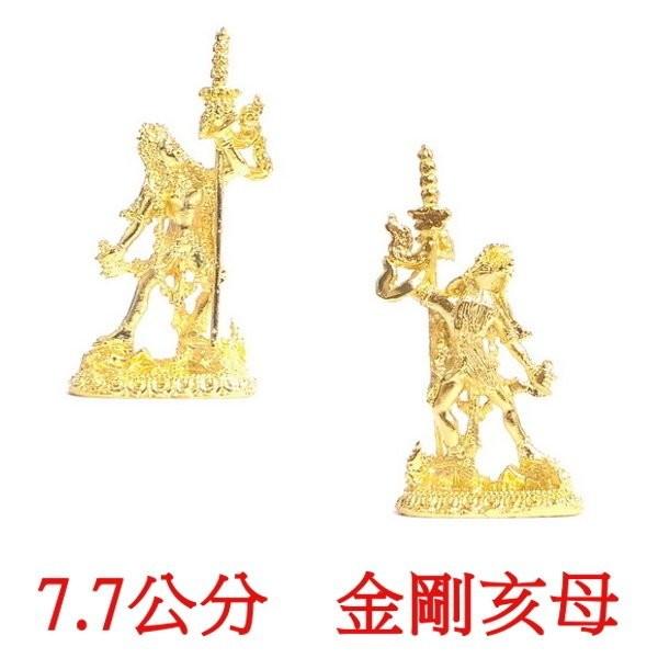 金剛亥母 多傑帕母 7.7公分 佛像法像-金黃色