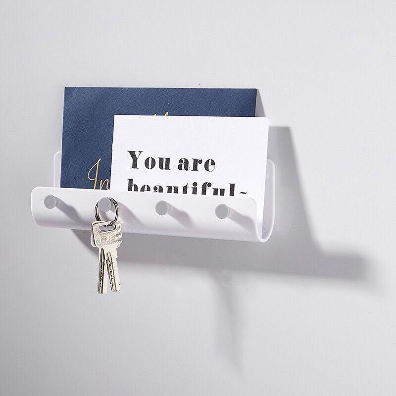 現貨簡約u型壁掛式置物掛勾架 貼式收納掛架 免釘鑰匙架 信件收納架 多功能鑰匙掛勾 居家創意