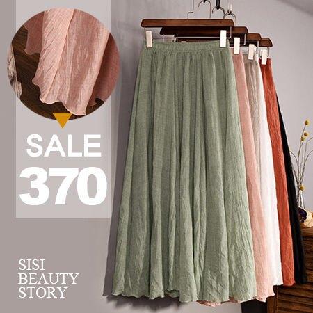 SISI【P5031】慵懶輕盈舒適 大裙襬棉麻長裙鬆緊高腰百褶裙半身裙