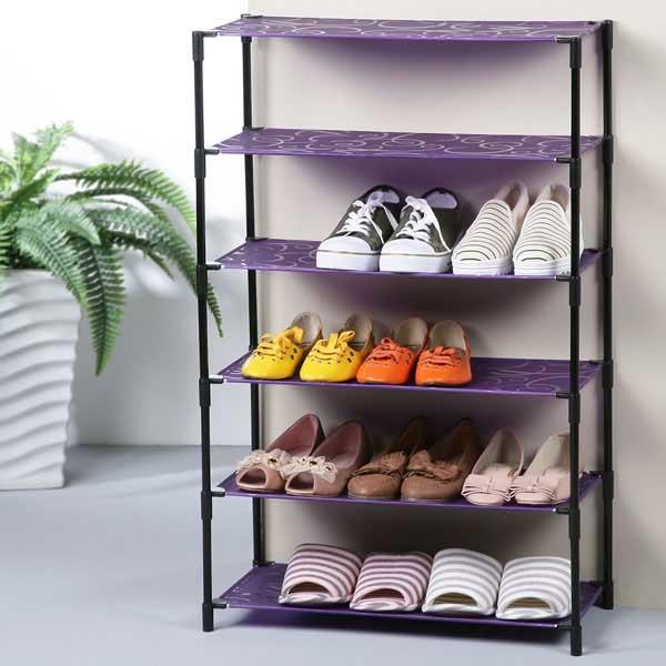 yostyle 炫紫輕巧六層鞋架