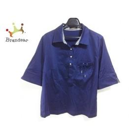 レリアン Leilian 半袖ポロシャツ サイズ13+ S レディース 美品 ネイビー×白  値下げ 20190919