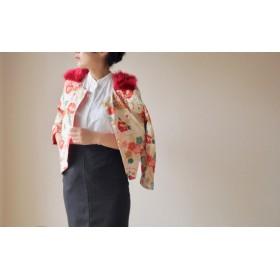 Red fur x 和柄のショートジャケット (no.058)