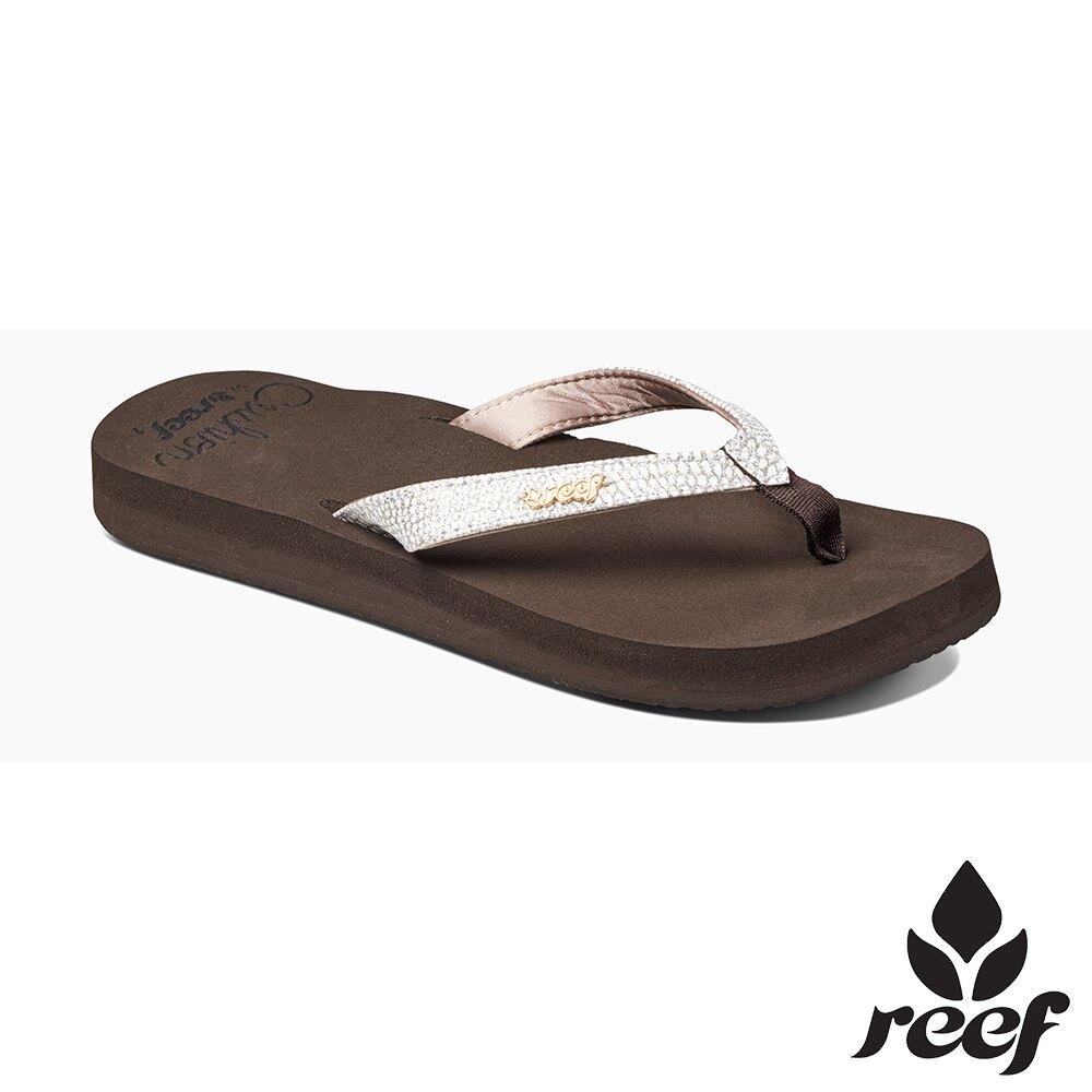 REEF 新軟Q系列 印花亮粉織帶 人體工學鞋床 女款夾腳拖 人字拖鞋  . 棕/白 RF01384BNW