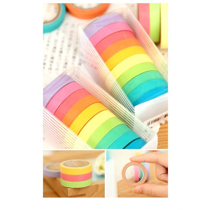 [台灣出貨] 清新可愛糖果色彩虹手撕 日本和紙膠帶 1組10入 便利貼 便條紙 紙膠帶 n次貼 文具