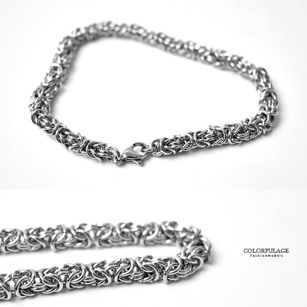 手環 鋼製超緊密彎勾環扣環手鍊【NA490】