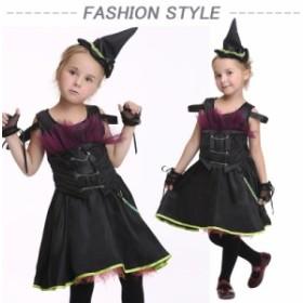 ハロウィン ワンピース 衣装 子供 コスプレ 魔女 デビル コスプレ女の子 仮装 パーティー クリスマス 3セット