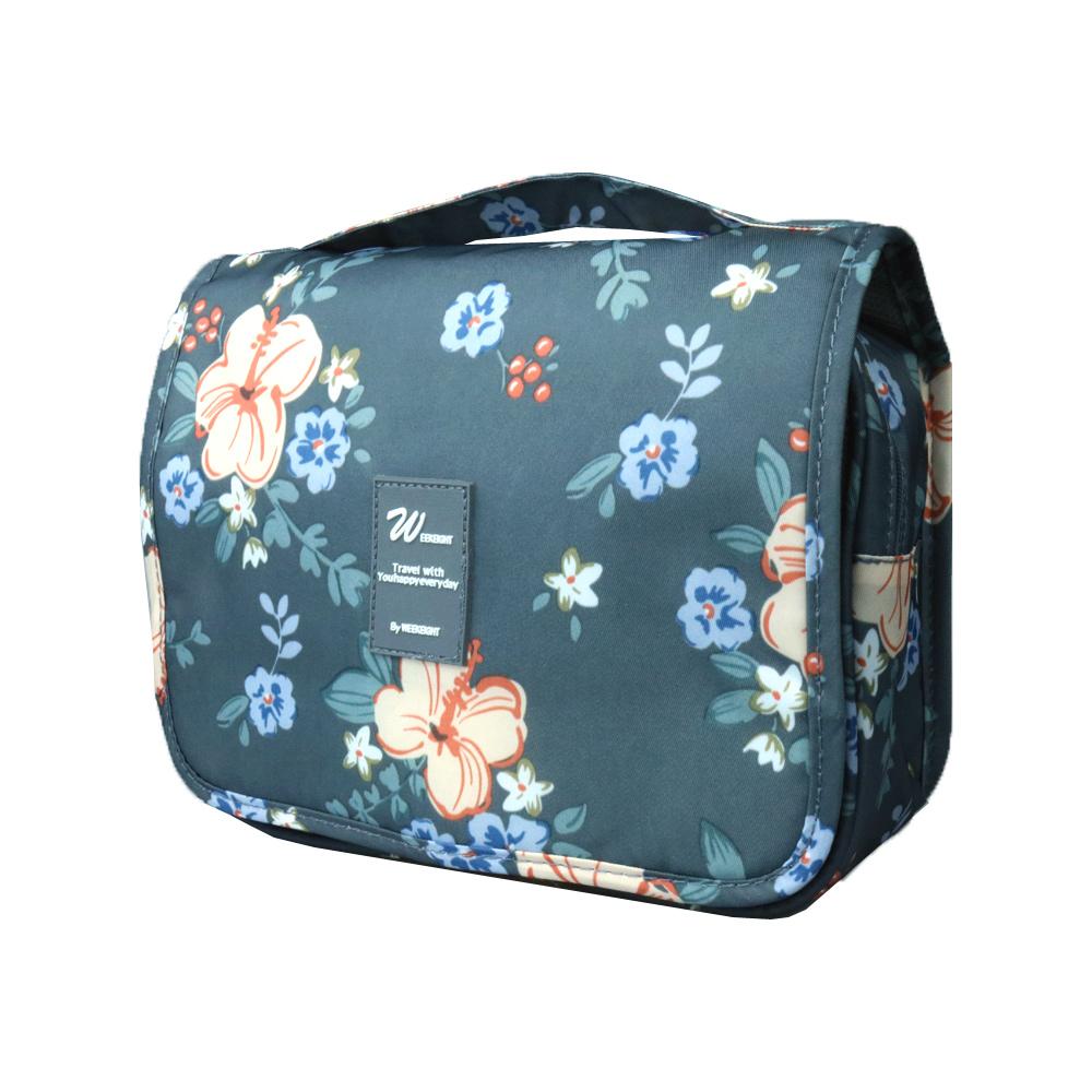 DF Queenin - 自然風手提盥洗收納包-深灰花卉