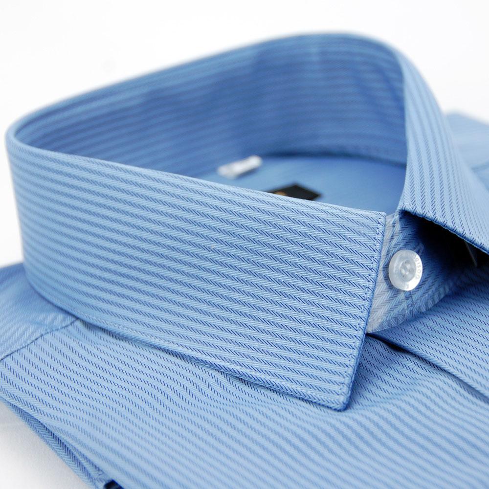 【金安德森】藍色暗紋類絲質窄版長袖襯衫