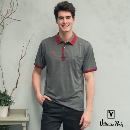 Valentino Rudy范倫鐵諾.路迪 MIT 吸濕透氣涼爽機能Polo衫-耀石灰紅領