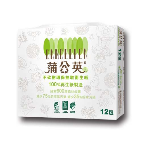 【蒲公英】環保抽取衛生紙100抽*12包*6串/箱