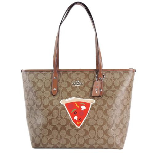 COACH 紐約限定款 C Logo Pizza托特包