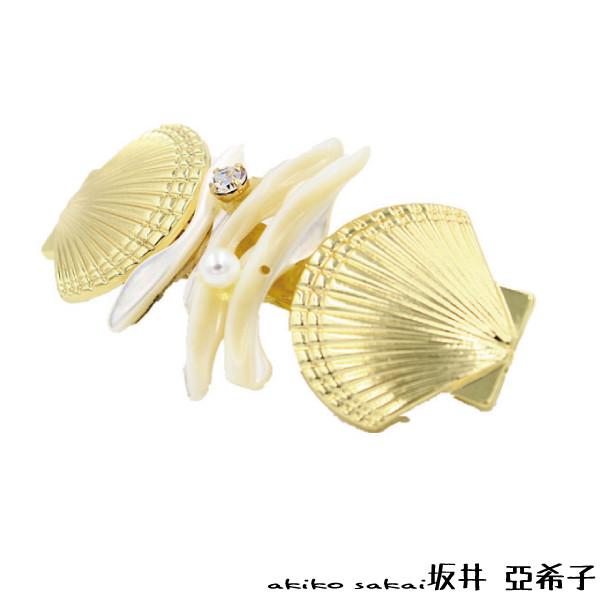 akiko亞希子貝殼珊瑚珍珠鑲鑽髮夾 -金色