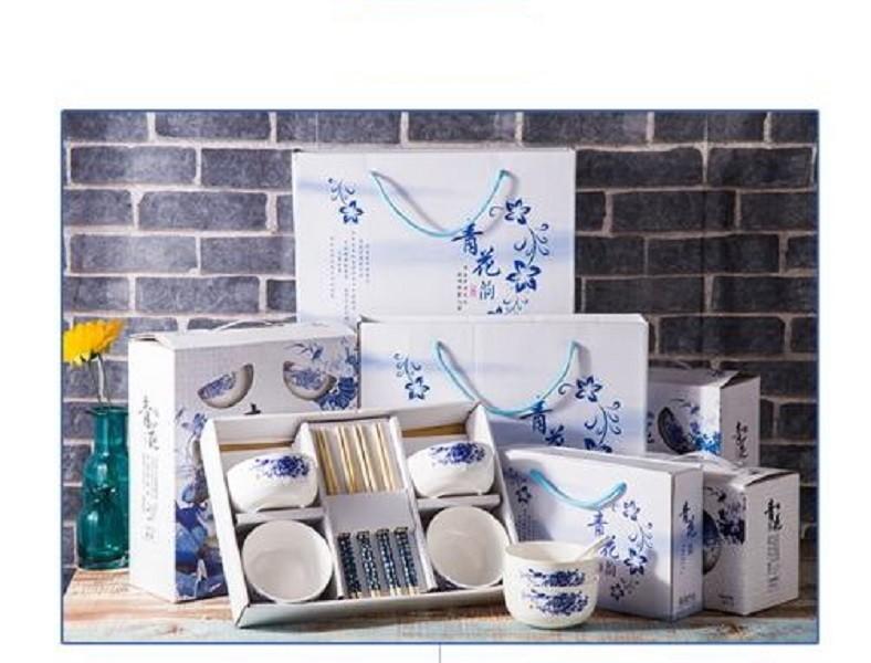 (四碗四筷)日式碗筷套裝xu087降價出清(紙盒瑕疵)三色可選 青花瓷碗陶瓷套裝