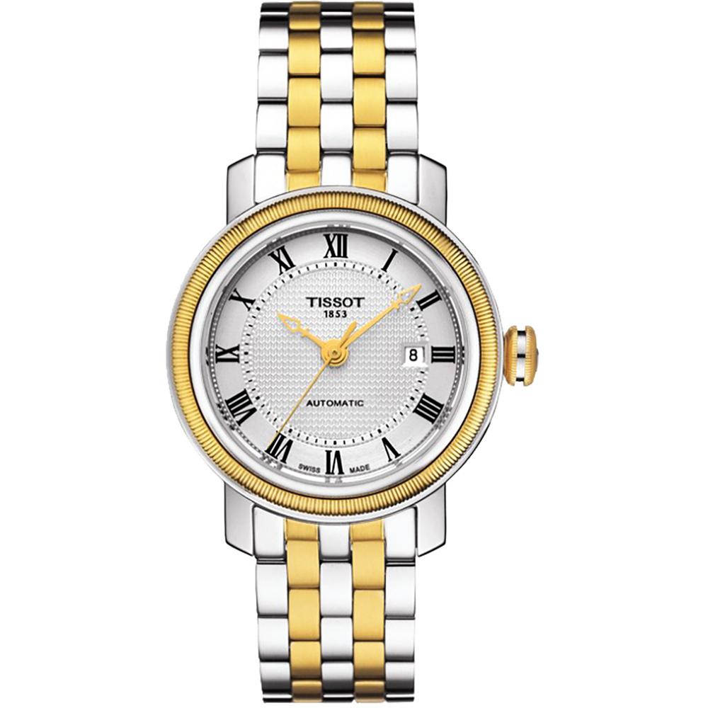 TISSOT天梭 Bridgeport 寶環系列經典羅馬機械女錶-銀x金/29mm  T0970072203300