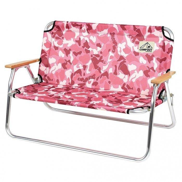 ├登山樂┤日本 Captain Stag 鹿牌 粉紅迷彩雙人椅 # UC-1658