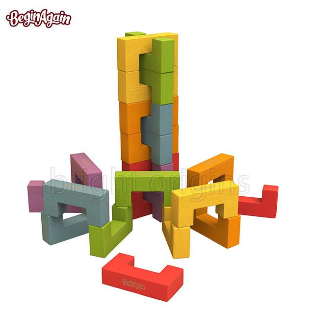 beginagain 木頭造型玩具 u型創意積木(24件組) i1703