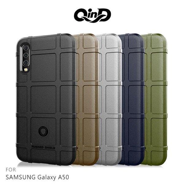 【愛瘋潮】99免運 QinD SAMSUNG A50 戰術護盾保護套 背蓋 TPU套 手機殼 保護殼 鏡頭保護