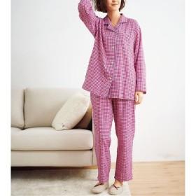 【レディース】 人気のチェック柄シャツパジャマ(綿100%)(二重ガーゼ) - セシール ■カラー:ピンク系:ギンガムチェック ■サイズ:L,M,3L,5L,LL