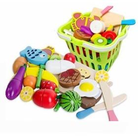 WONZOM おままごと 木製 22点セットおままごと 食べ物 切る遊び 磁石式 食材 果物 木のおもちゃ磁石式 おままごとセット 調理ごっこ 包丁
