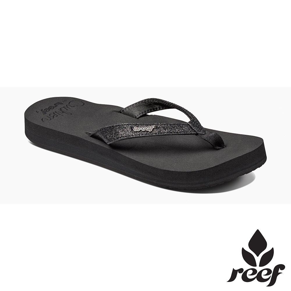 REEF 新軟Q系列 印花亮粉織帶 人體工學鞋床 女款夾腳拖 人字拖鞋  . 黑 RF01392BLA