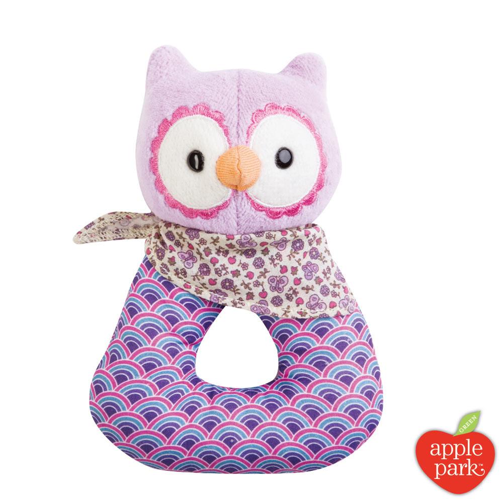 美國 Apple Park 野餐好朋友系列 - 手搖鈴啃咬玩具禮盒 - 粉紫貓頭鷹