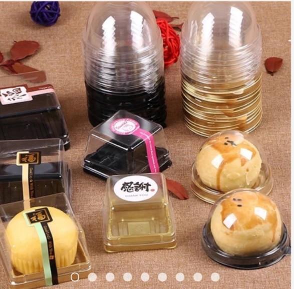 嚴選shop502入 50g 80g 100g金/黑色(厚)吸塑透明蓋蛋黃酥包裝盒 月餅盒獨立