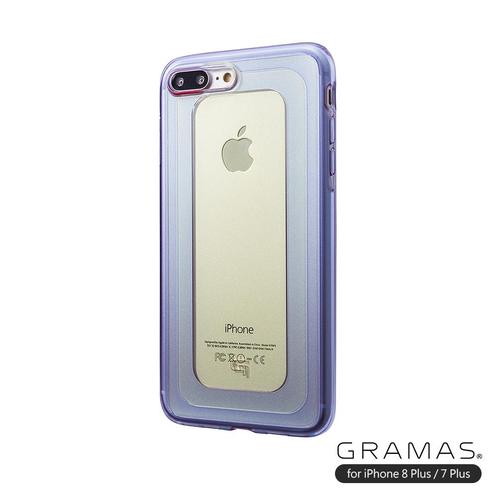 GRAMAS 東京職人工藝 iPhone 8/7Plus(5.5吋)專用日本製漾透寶石耐衝擊防震手機殼-GEMS系列(黃紫)